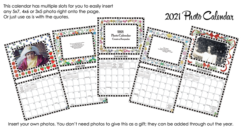 2021 Photo Calendar Insert your own photos by Rose Street Design